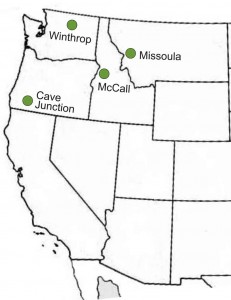 Map showing first four smokejumper bases in American history.