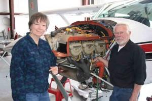 Bill and Louise Gettle, owners of Flying Machine Aircraft Repair, Illinois Valley Airport, Cave Junction, Oregon