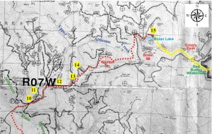 Map showing the proposed route of the Coast-Cascade Trail with photo points marked in yellow.