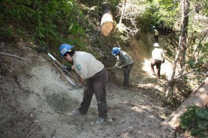 California Conservation Corps youth crew working on the historic Kelsey Trail above the South Fork of the Smith River, Smith River National Recreation Area. This trail will connect Redwood State and National Parks with the Siskiyou Wilderness, California.