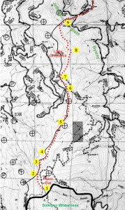 Topo map showing the approximate location of photo points taken along the proposed route of the Coast-Cascade Trail connector between Poker Flat and Jefferson State Byway