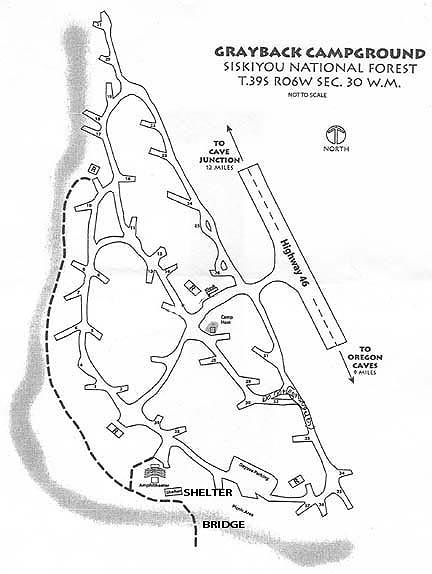 Map of Grayback Campground, Highway 46, Cave Junction, Oregon