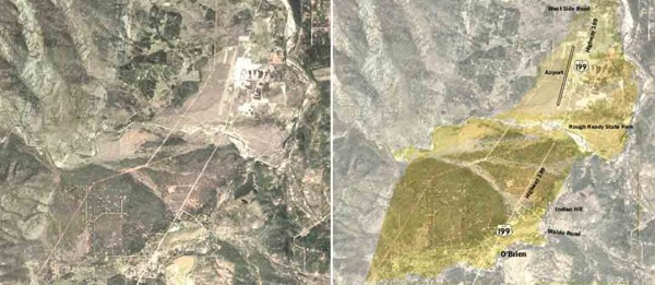 Pair of satellite photos with one showing the Rough and Ready Creek alluvial fan with color highlights indicating the ages of different deposits. Located south of Cave Junction, Oregon